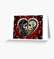 Ashes - Day of the Dead Couple - Sugar Skull Lovers Greeting Card