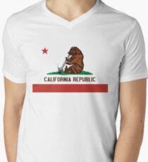 Funny Shirt - California State Flag Men's V-Neck T-Shirt