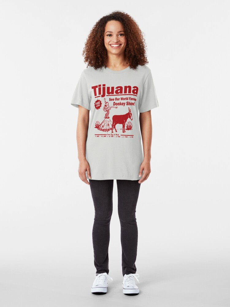 Alternate view of Funny Shirt - Tijuana Donkey Show Slim Fit T-Shirt