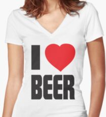 Funny Shirt - I Love Beer Women's Fitted V-Neck T-Shirt