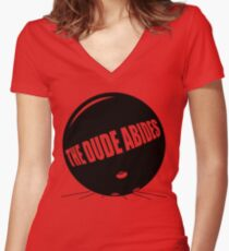 Funny Shirt - The Dude Abides Women's Fitted V-Neck T-Shirt