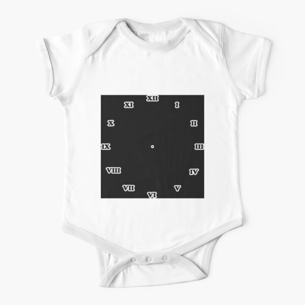 Clock dial with Roman numerals Short Sleeve Baby One-Piece