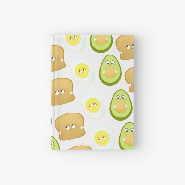 Baby avocado toast pattern Illustration white background Hardcover Journal