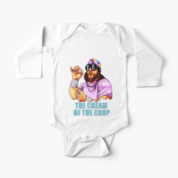MACHO MAN SAVAGE CREAM OF THE CROP FULL COLOR Long Sleeve Baby One-Piece