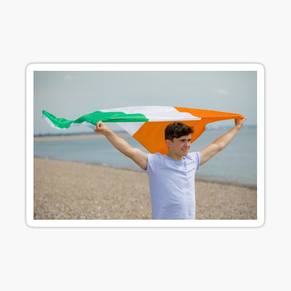 A young man with the Irish Flag Sticker