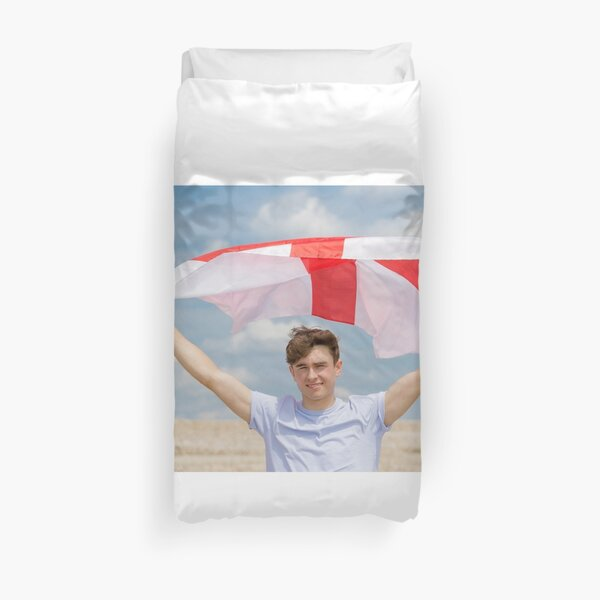 A young man with the Flag of England, the cross of St George Duvet Cover
