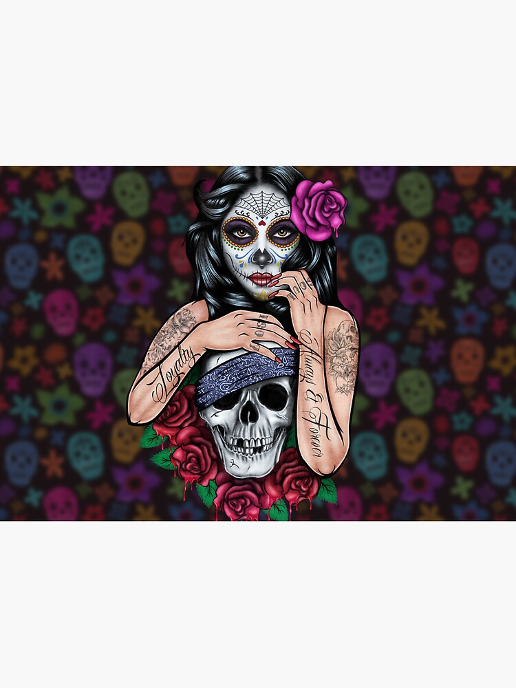 sugar skull floral Tattoo girl day of the dead ( dia de los muertos) makes perfect gifts for any occasion by casestore