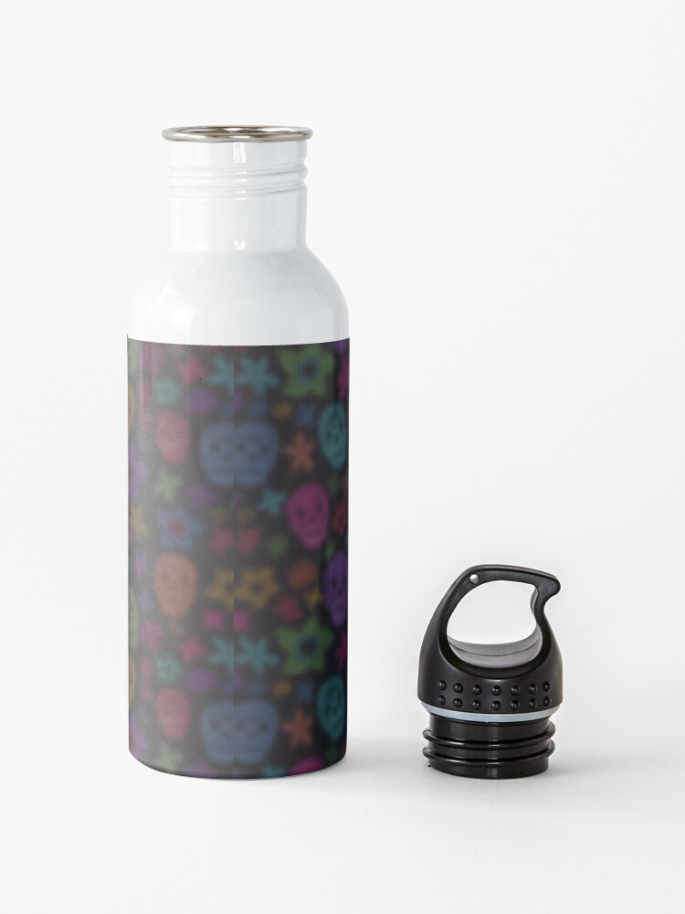 Alternate view of sugar skull floral Tattoo girl day of the dead ( dia de los muertos) makes perfect gifts for any occasion Water Bottle