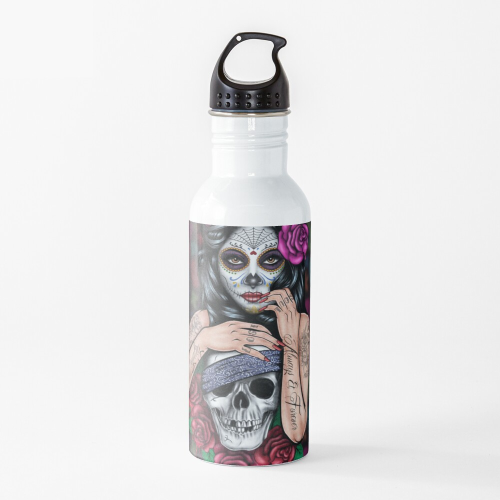 sugar skull floral Tattoo girl day of the dead ( dia de los muertos) makes perfect gifts for any occasion Water Bottle