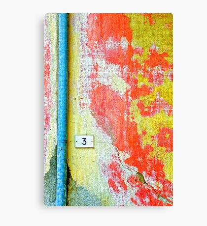 Drainpipe, amazing wall and number three Canvas Print