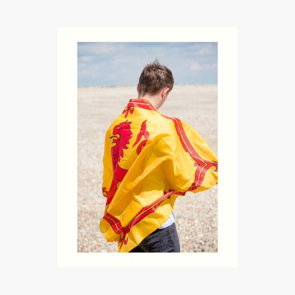 A young man with a Lion Rampant of Scotland flag Art Print