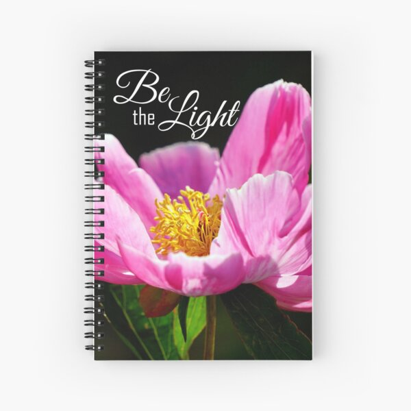 Be The Light - Pink Peony Spiral Notebook