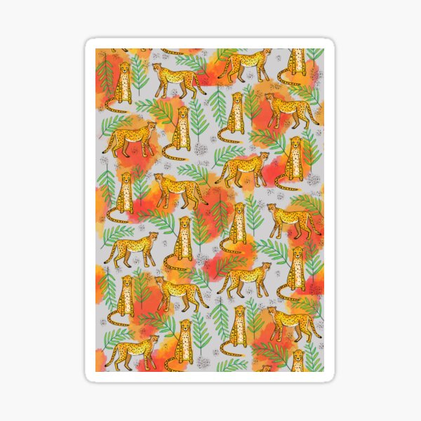 Wild life pattern cheetah with tropical leaves watercolor Sticker