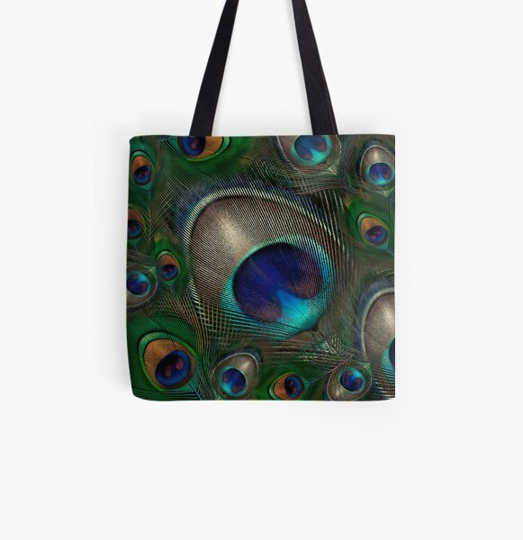 Peach And Blue Peacock Feather Art Print On A Roomy 24X13 Inch Weekender Bag Tote
