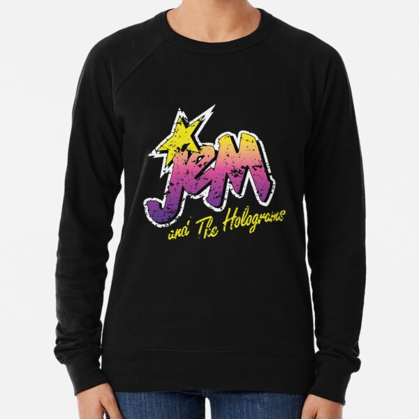 Jem and the Holograms Band Cartoon Misfits Distressed 80s Party Mask Lightweight Sweatshirt