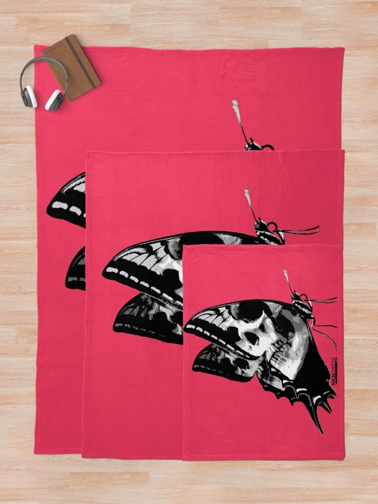 Alternate view of Skullerfly Pink Throw Blanket