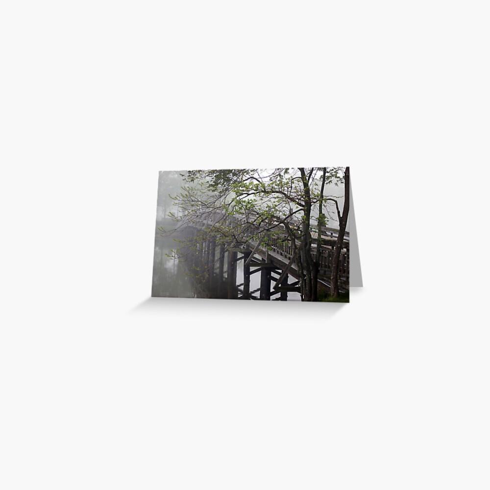 The Foot Bridge Fog in Spring Lake Greeting Card