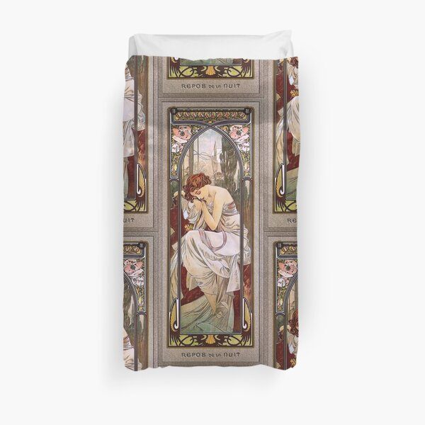 Rest Of The Night by Alphonse Mucha - Old Masters Paintings Reproduction Duvet Cover