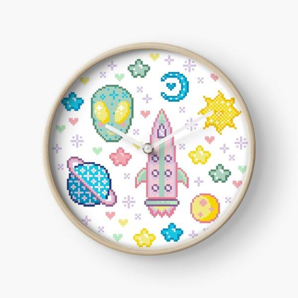 Pastel Outer Space Pixel Kawaii Clock