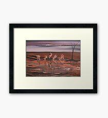 Kangaroos at the Waterhole Framed Print