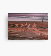 Kangaroos at the Waterhole Canvas Print