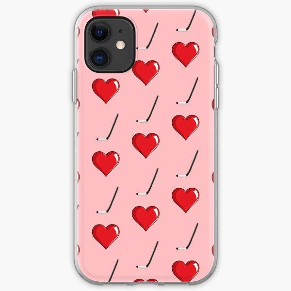 Heart + Hockey Sticks Pattern iPhone Soft Case