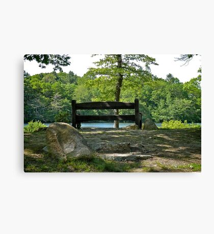 A Quiet Bench On A Quiet Pond  Canvas Print
