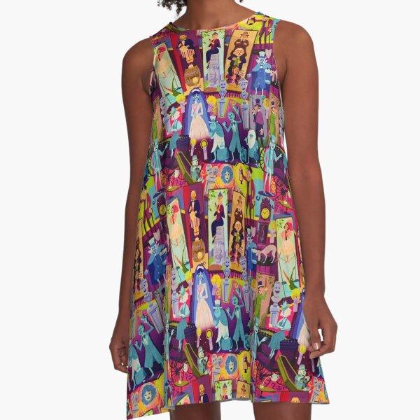 Retro Mansion Collage A-Line Dress