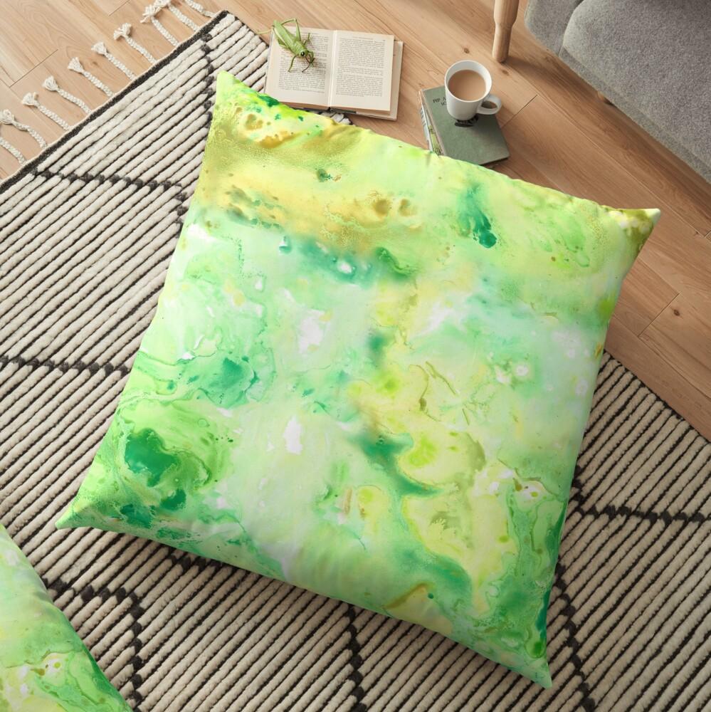 Green Marble Watercolour Floor Pillow