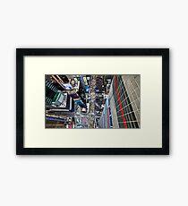 Manhattan in motion - bird's eye Times Square Framed Print