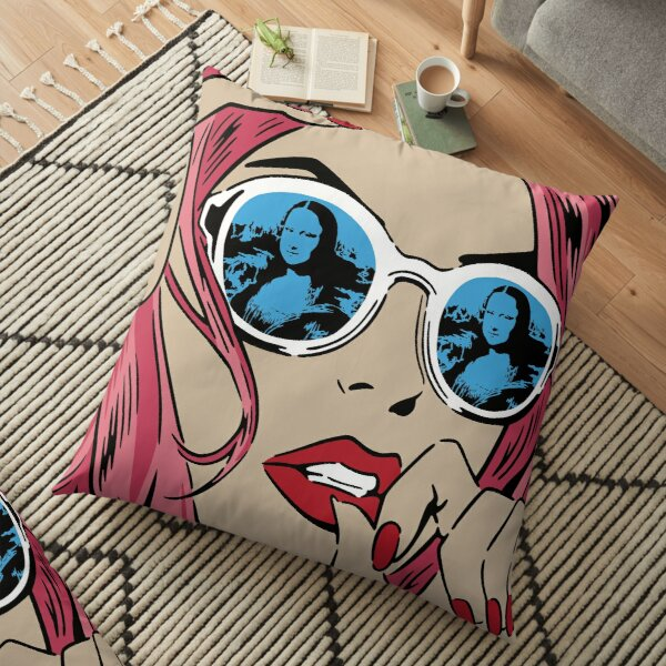 Mona Lisa Reflections Pink Floor Pillow