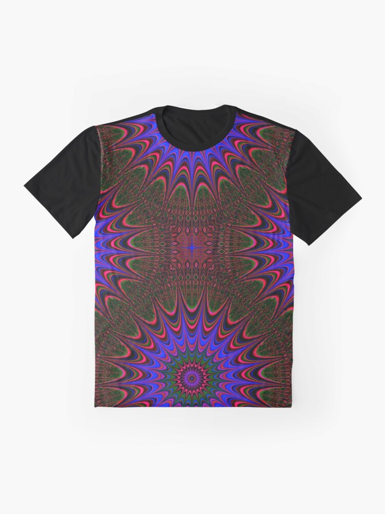 Alternate view of Mandala Pattern in Blue on Brown. Stunning Psychedelic Gift. Graphic T-Shirt