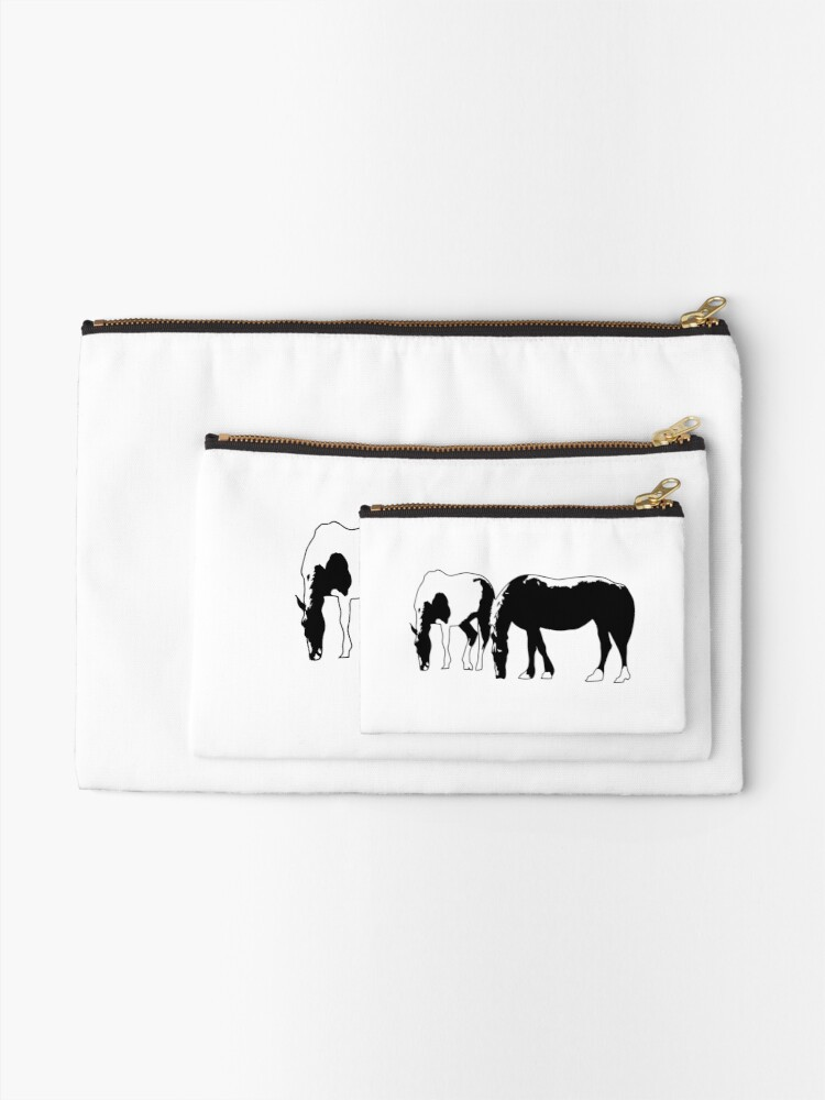 Alternate view of Horses in a field Vector Zipper Pouch