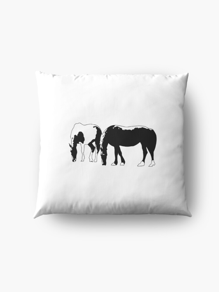 Alternate view of Horses in a field Vector Floor Pillow