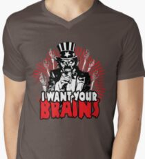 I want YOUR brains! Men's V-Neck T-Shirt