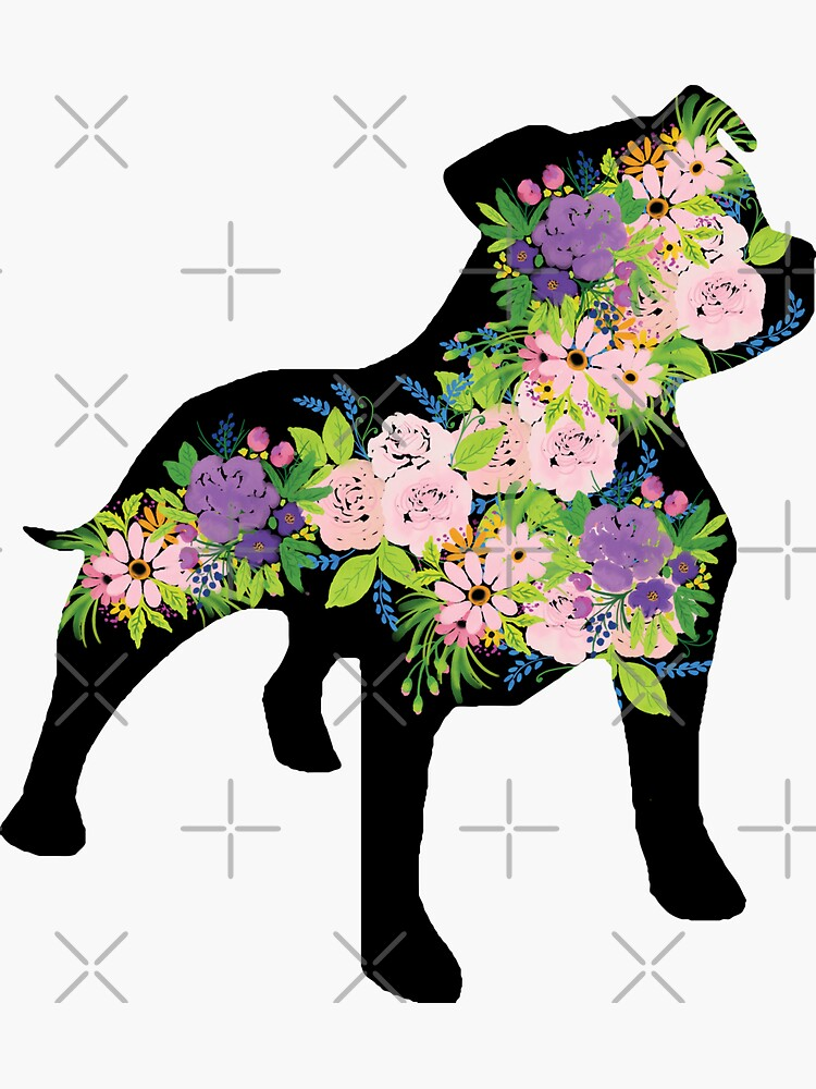 Floral Staffordshire Bull Terrier with black background by tribbledesign