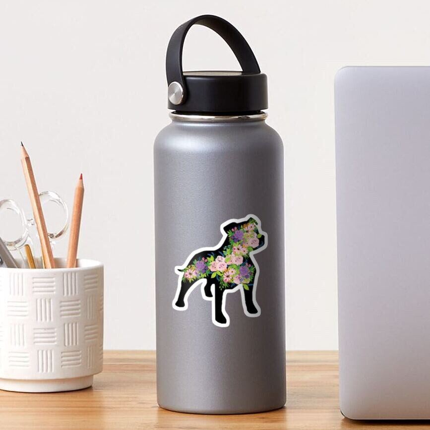 Floral Staffordshire Bull Terrier with black background Sticker