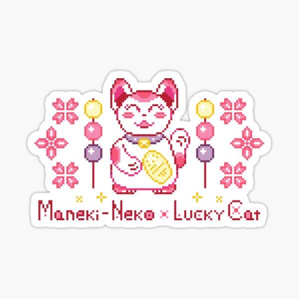 Lucy Cat Maneki Neko Dango Pixel Kawaii Sticker