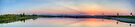 Rocky Mountain Sunset Series - Pink & Blue Mountains Panorama by Jonathan Bartlett