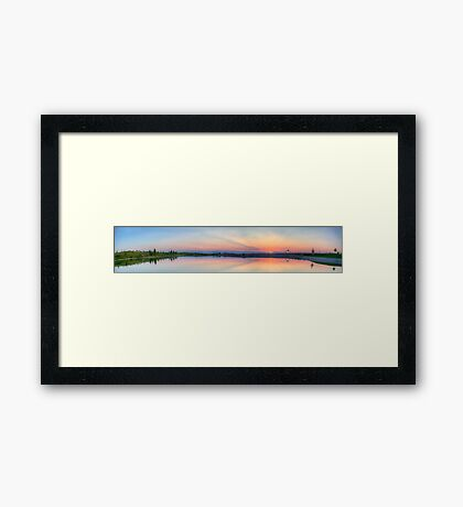 Rocky Mountain Sunset Series - Pink & Blue Mountains Panorama Framed Print