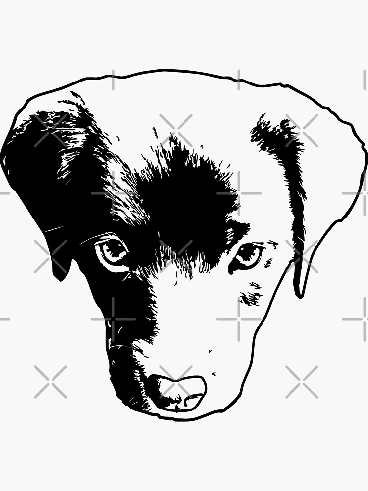 Monochrome Puppy Head Vector by tribbledesign
