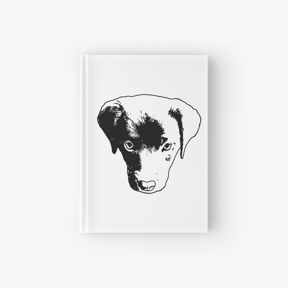 Monochrome Puppy Head Vector Hardcover Journal