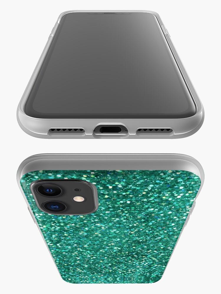 Alternate view of Sparkly Mermaid Green Aqua Glitter iPhone Case & Cover