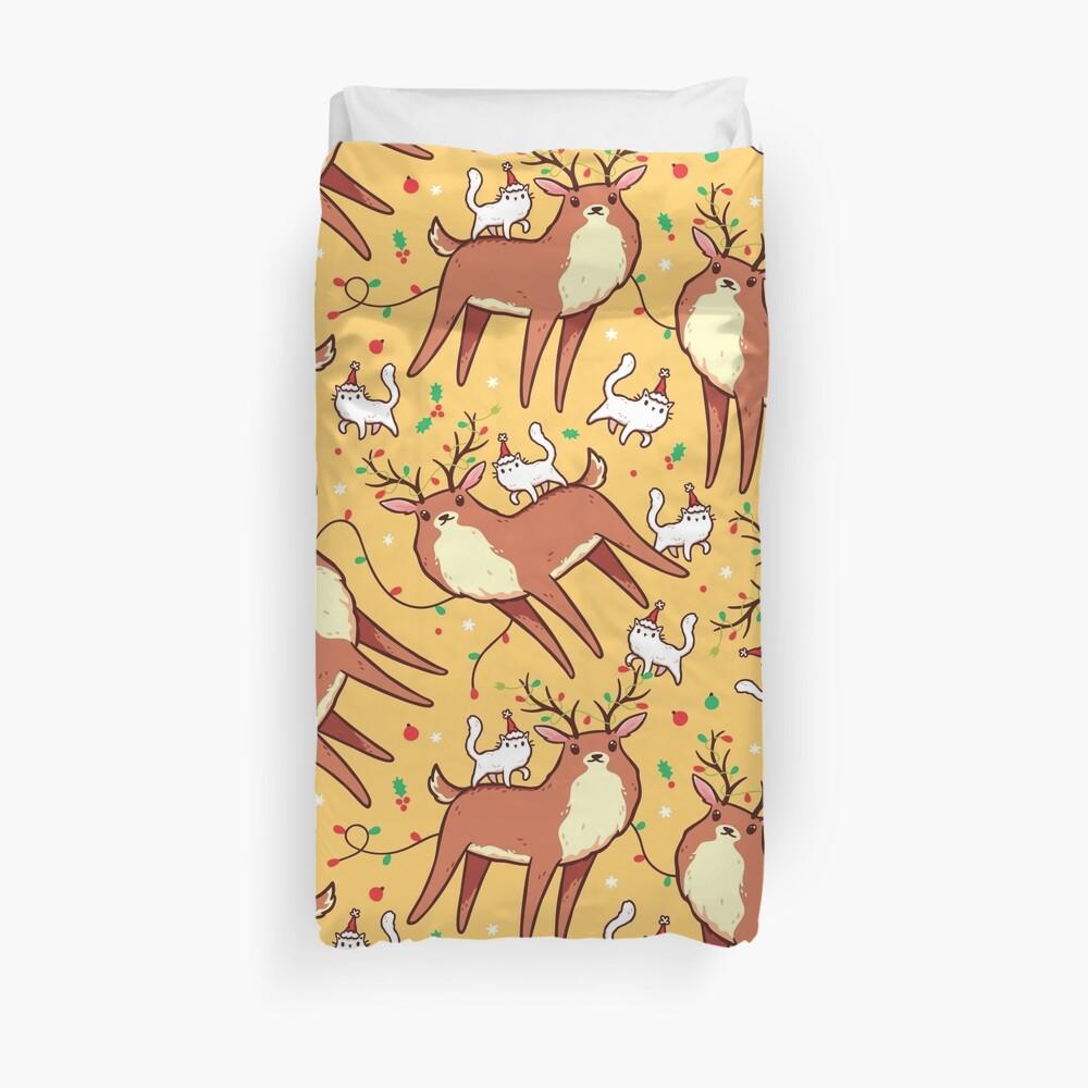 Reindeer and Kitten Duvet Cover
