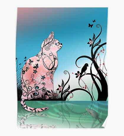 Cherry Blossom Cat by Pond at Sunset Poster