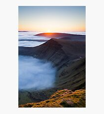 Sunrise over Cribyn, Brecon Beacons National Park, Wales. Photographic Print