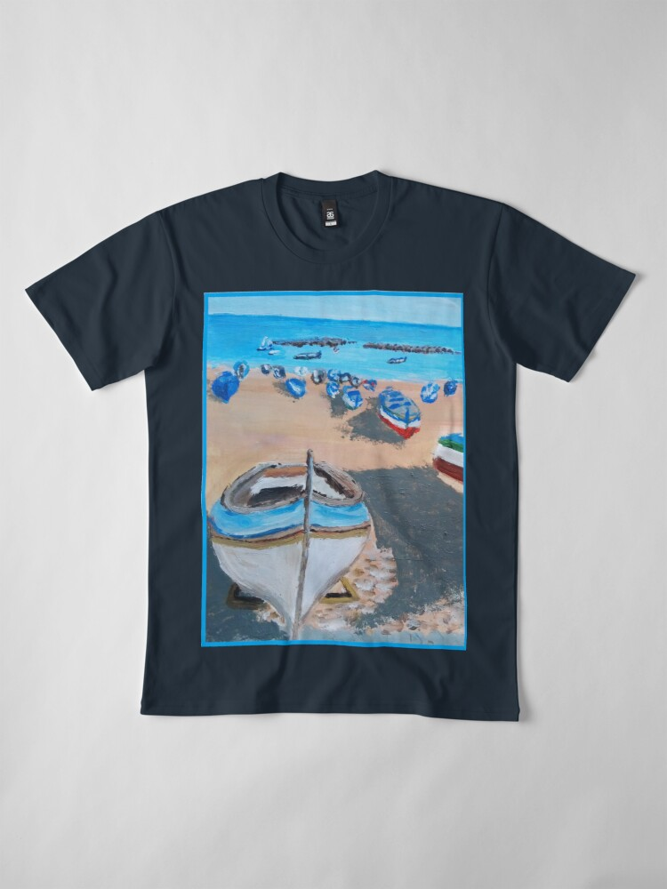 Alternate view of SICILY PAINTING BOATS ON A BEACH Premium T-Shirt