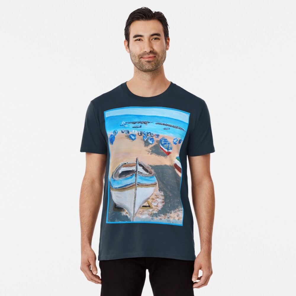SICILY PAINTING BOATS ON A BEACH Premium T-Shirt