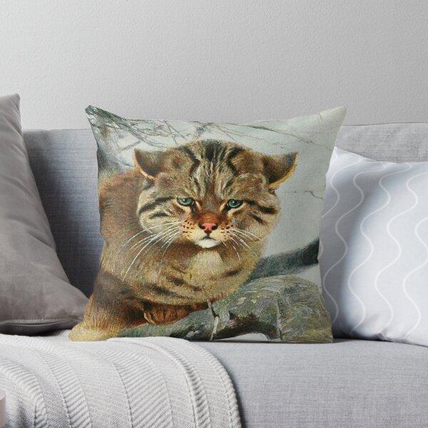 Wild Cat Artist's Sketch Throw Pillow