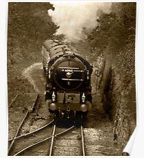 Tornado steam train in b&w Poster
